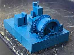 3d printed model of of a large cable winder
