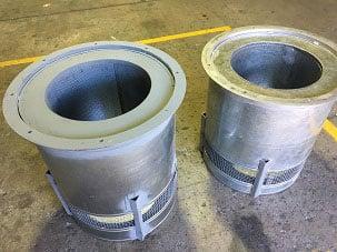 Circular-silencer-with-mesh-air-intake-for-boiler